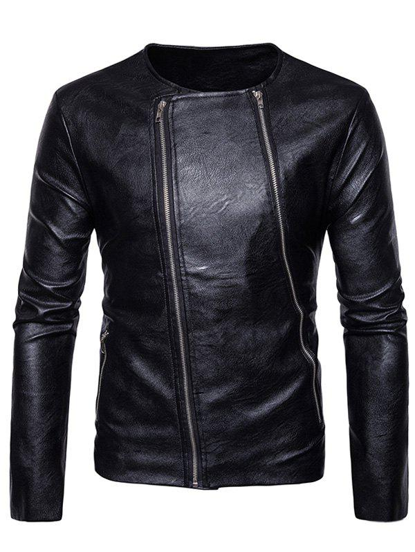 Zaful | BLACK Crew Neck Double Zippers PU Leather Jacket | Clouty
