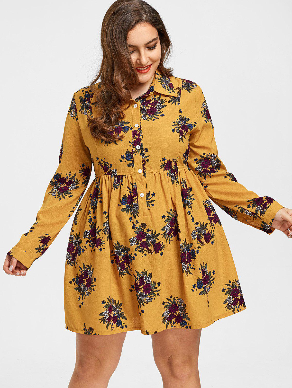 Zaful | GINGER Roll Sleeves Buttons Floral Plus Size Dress | Clouty