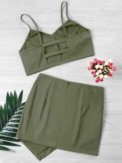 Zaful | ARMY GREEN Buttoned Crop Top And Mini Skirt Set | Clouty