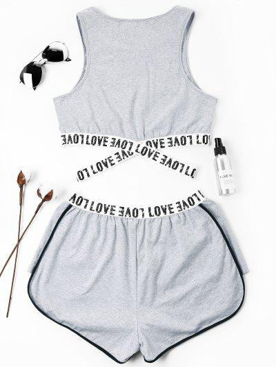 Zaful | GRAY Letter Patched Crossover Shorts Set | Clouty