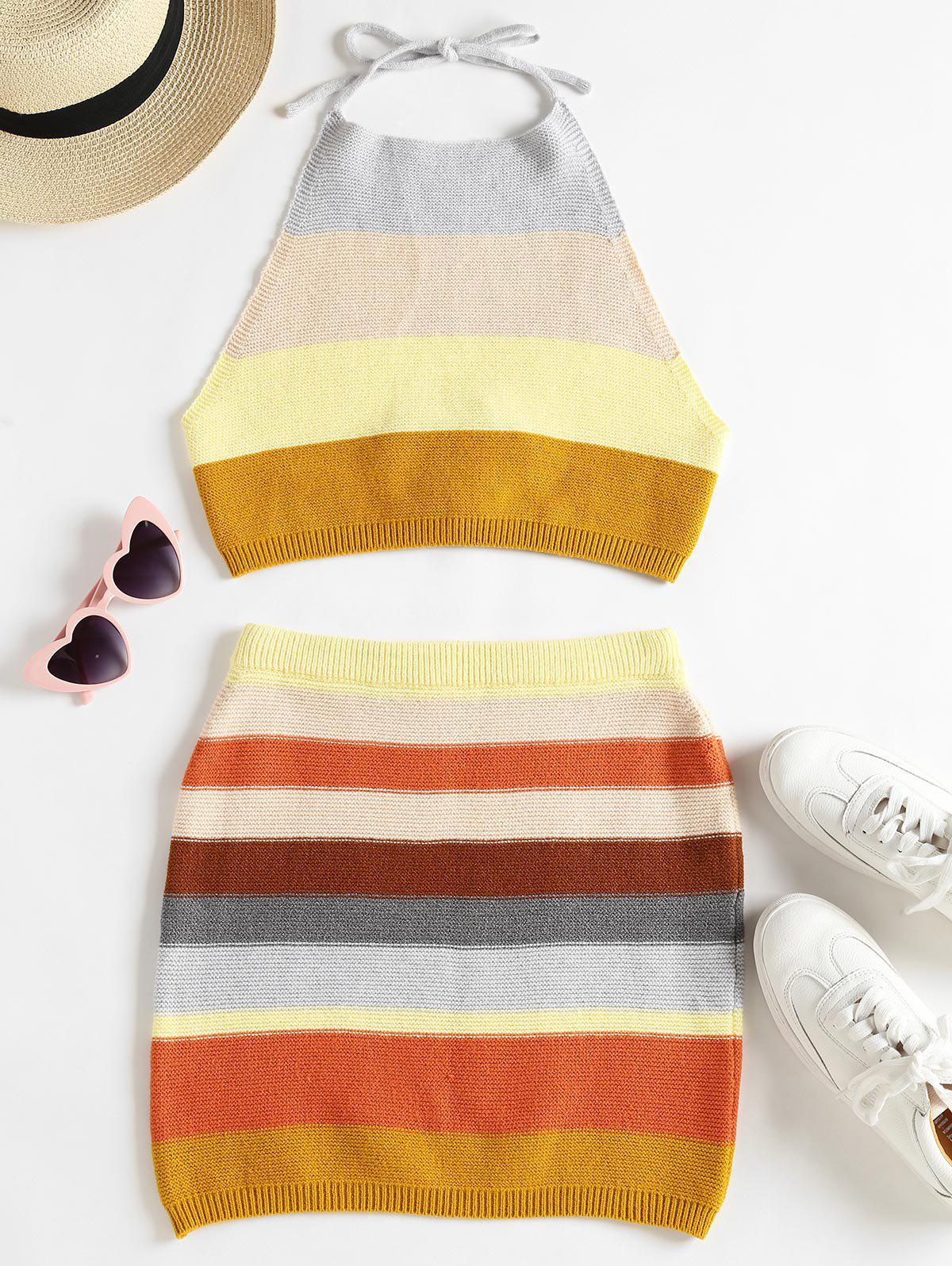 Zaful | MULTI Knitted Striped Top and Skirt Set | Clouty