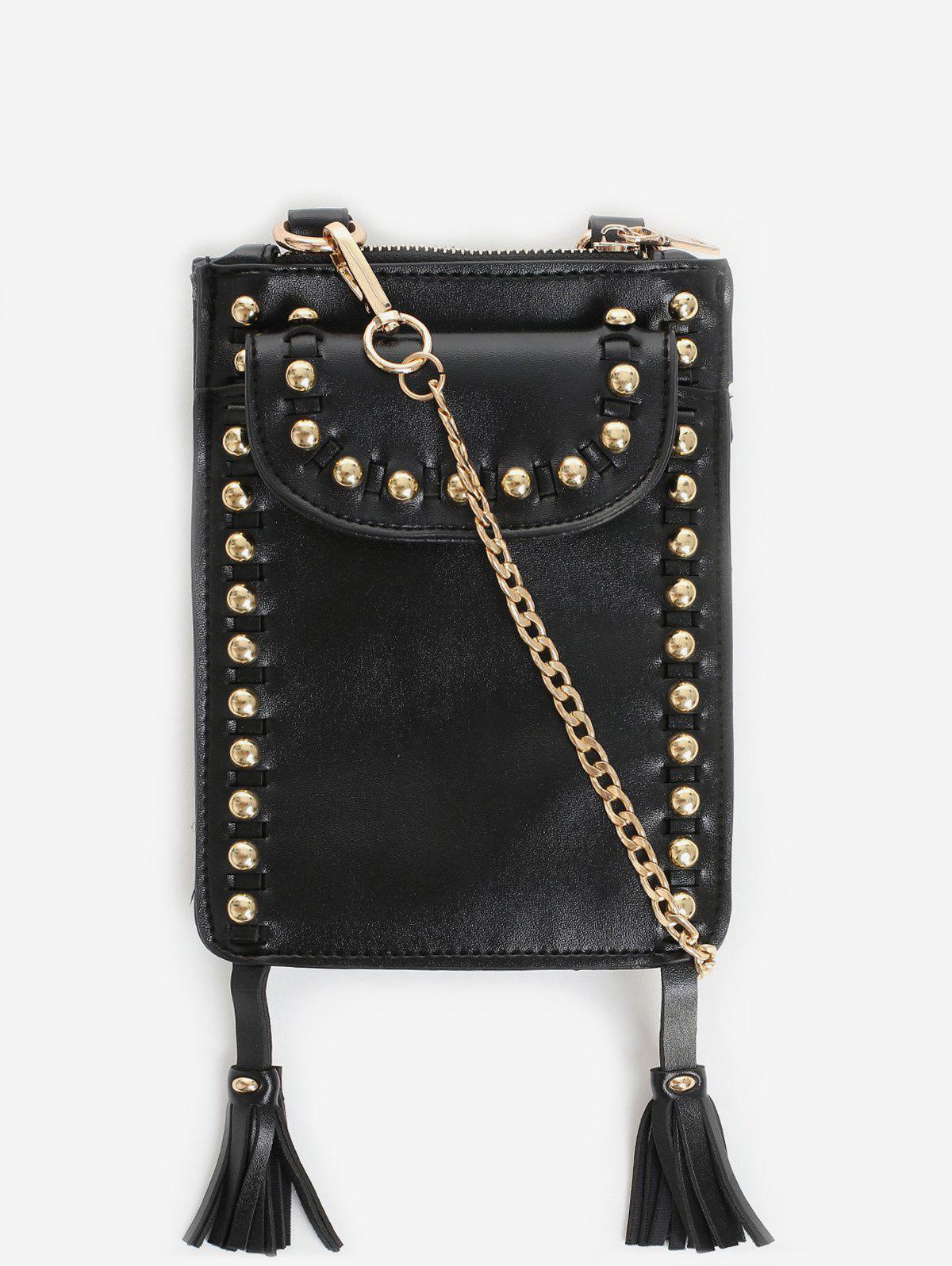 Zaful   BLACK Rivet Tassel PU Leather Crossbody Bag   Clouty