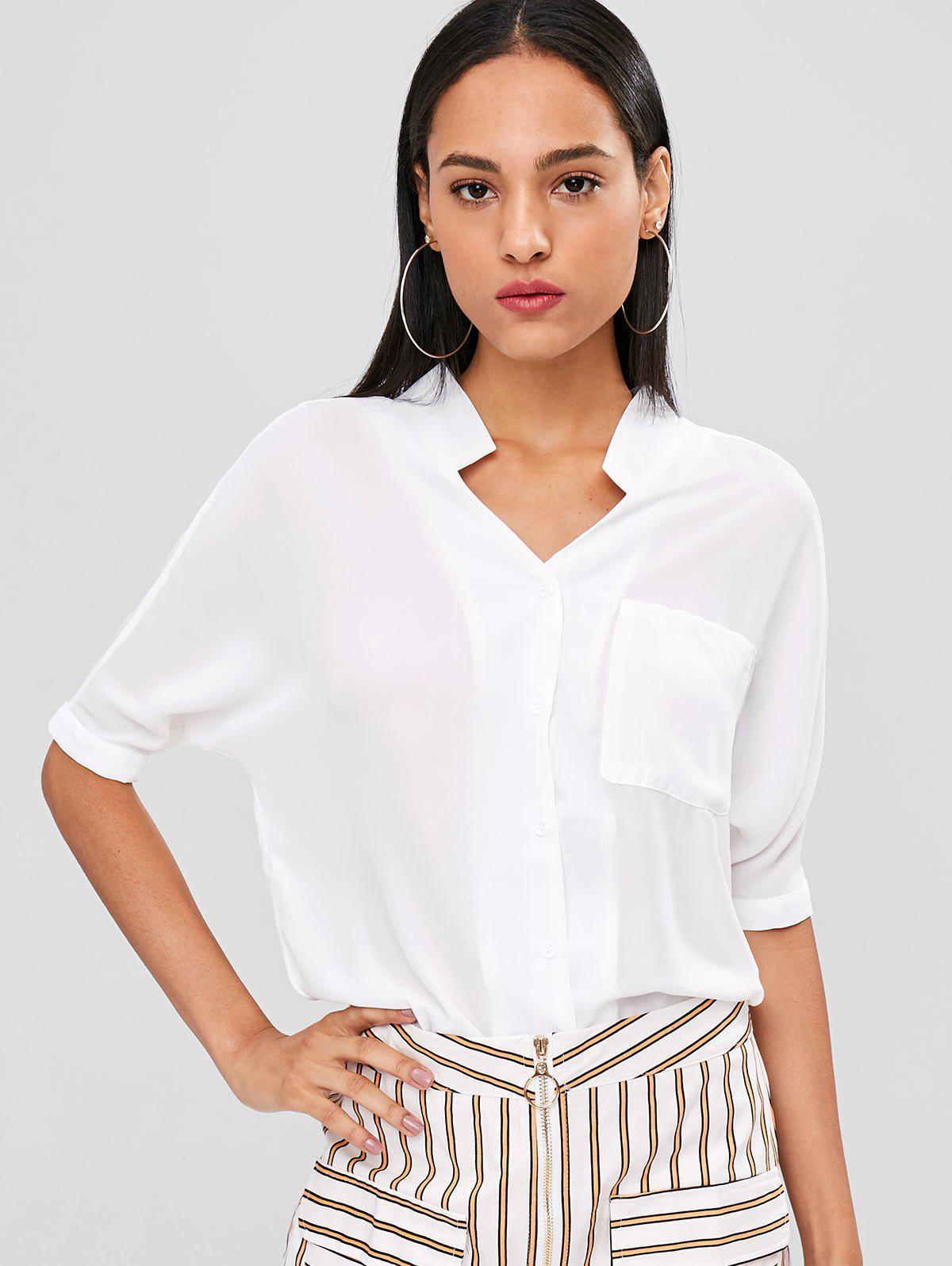 Zaful | WHITE Button Up Longline Pocket Blouse | Clouty