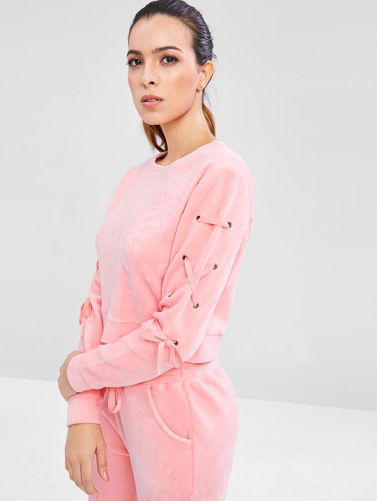 Zaful | PINK Velvet Lace Up Sweatshirt | Clouty