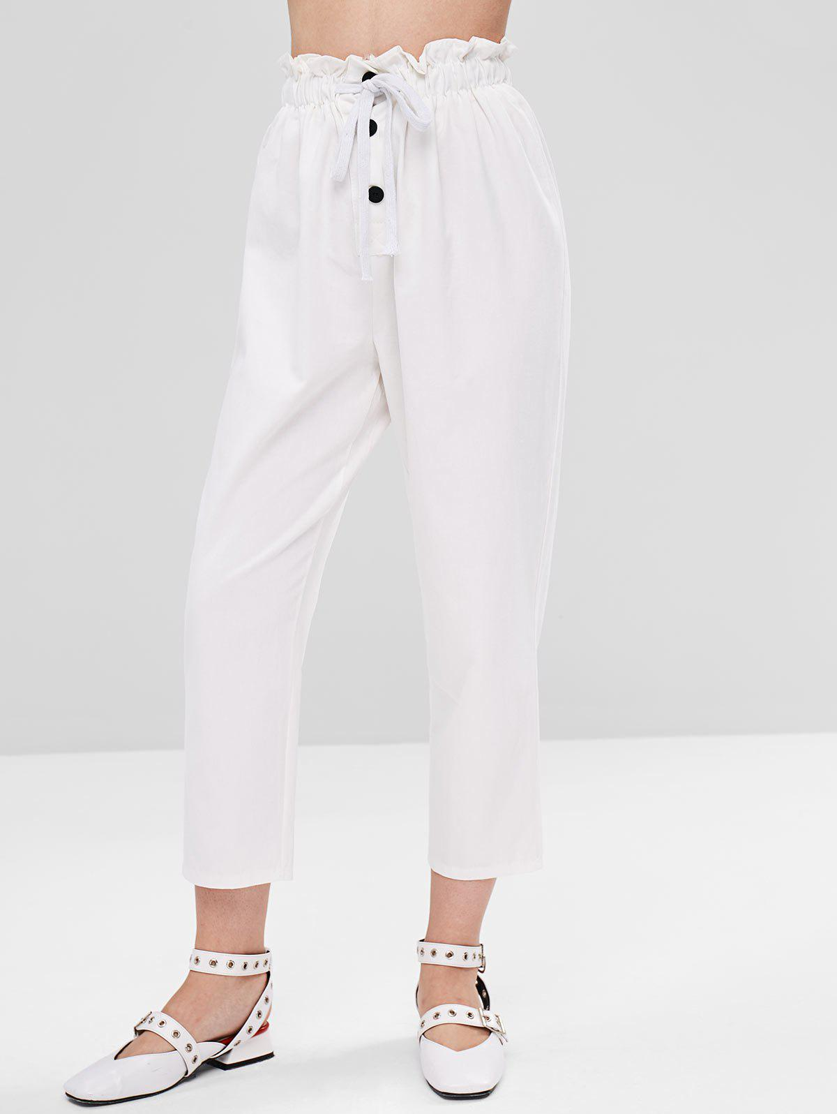Zaful | WHITE Half Buttoned Drawstring Straight Pants | Clouty