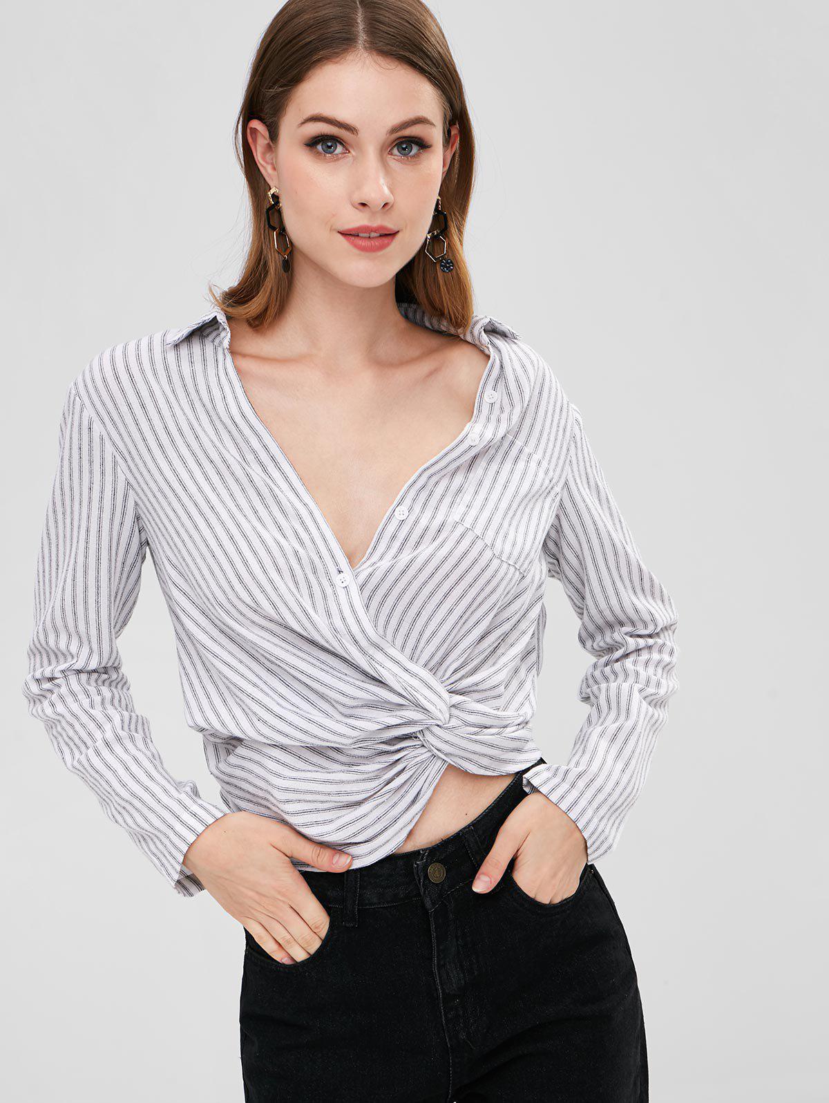 Zaful | WHITE ZAFUL Twist Striped Crop Blouse | Clouty