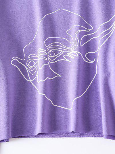 Zaful | PURPLE ZAFUL Graphic Cropped Sweatshirt | Clouty