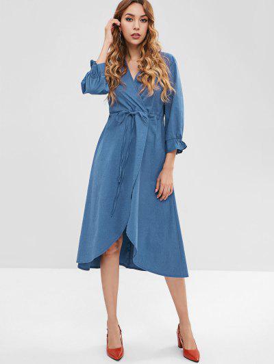 Zaful | DENIM DARK BLUE ZAFUL Chambray Surplice Front Slit Dress | Clouty