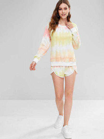 Zaful | MULTI ZAFUL Ombre Sweatshirt and Dolphin Shorts Set | Clouty