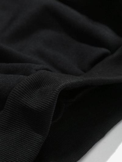 Zaful   BLACK Solid Letters Pouch Pocket Fleece Hoodie   Clouty