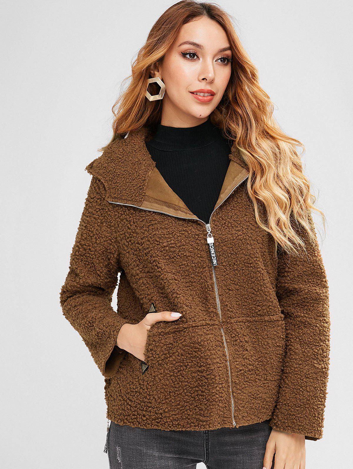 Zaful | BROWN Side Zip Hooded Fluffy Coat | Clouty