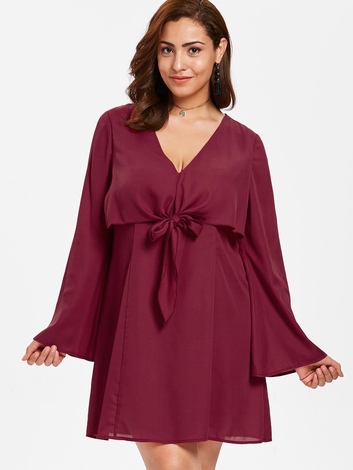 Zaful | RED WINE ZAFUL Plus Size Tie Front Mini Dress | Clouty