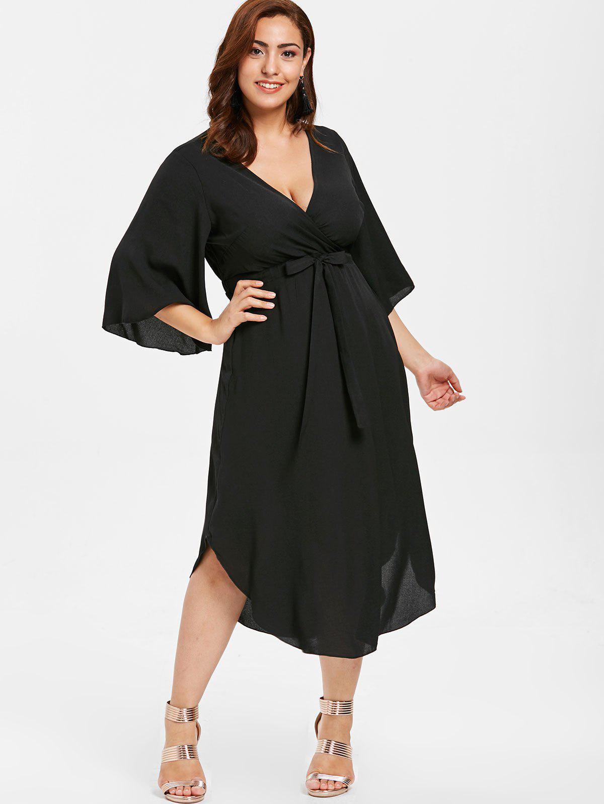 Zaful | BLACK ZAFUL Plus Size Drawstring Surplice Dress | Clouty