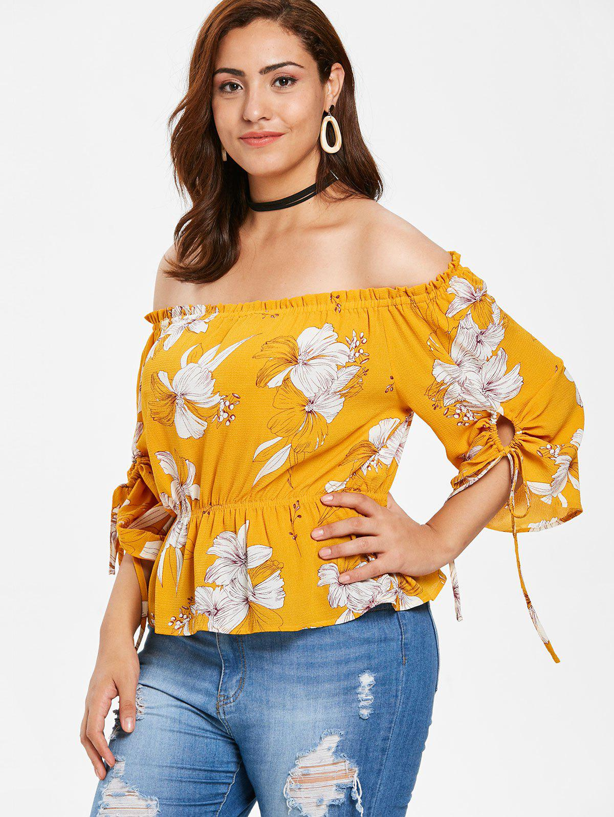 Zaful | BEE YELLOW ZAFUL Plus Size Floral Skirted Blouse | Clouty