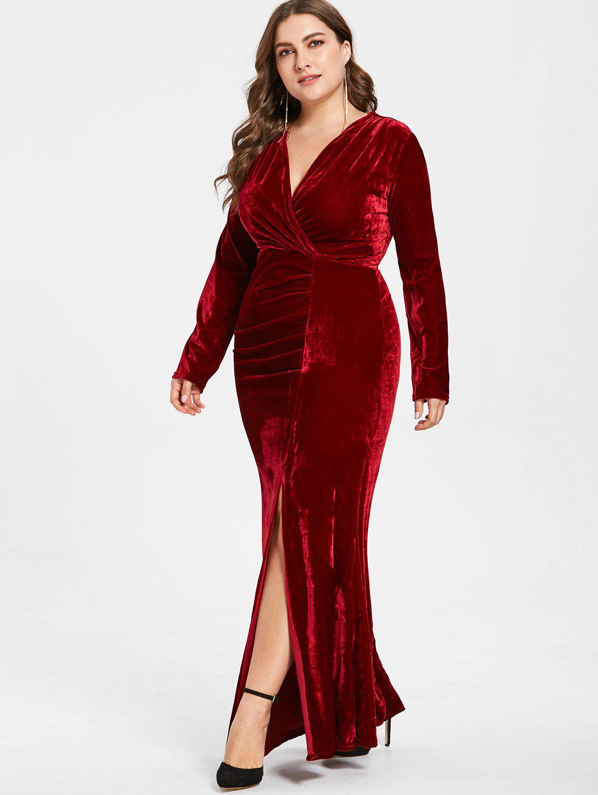 Zaful | RED WINE Plus Size Plunge Velvet Slit Dress | Clouty
