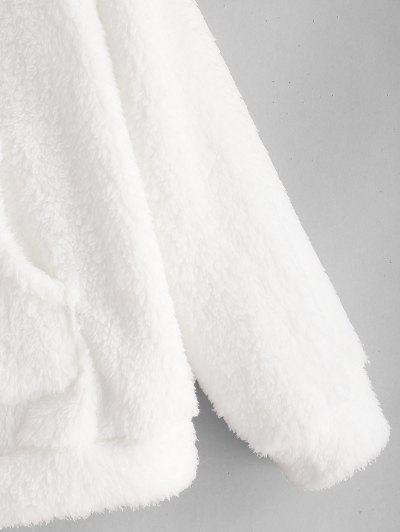 Zaful   WHITE Half Zip Kangaroo Pocket Fluffy Hoodie   Clouty