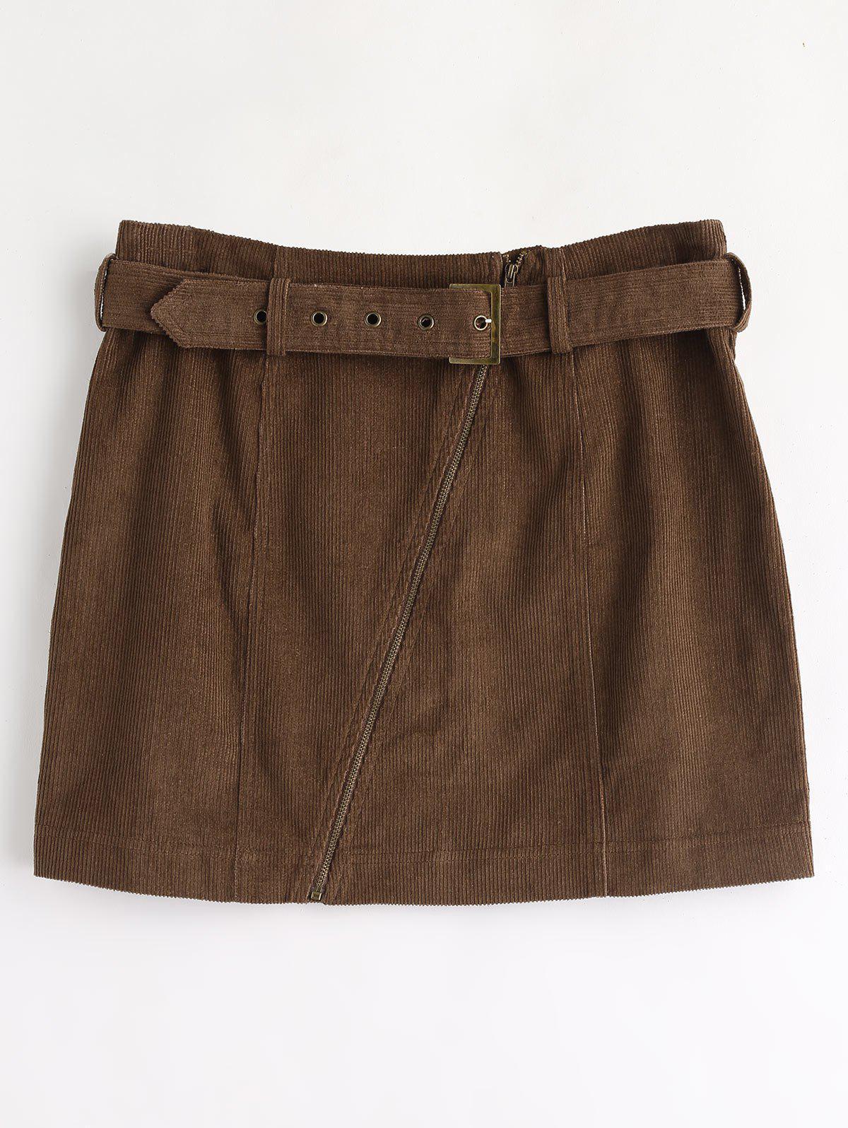 Zaful | DEEP BROWN ZAFUL Corduroy Zip Faux Belt Skirt | Clouty