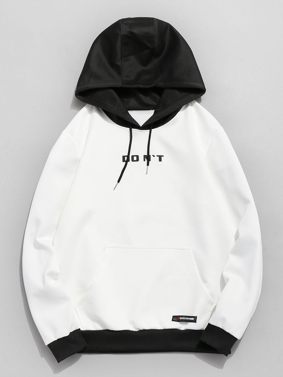 Zaful | WHITE Contrast Color Letter Pocket Hoodie | Clouty