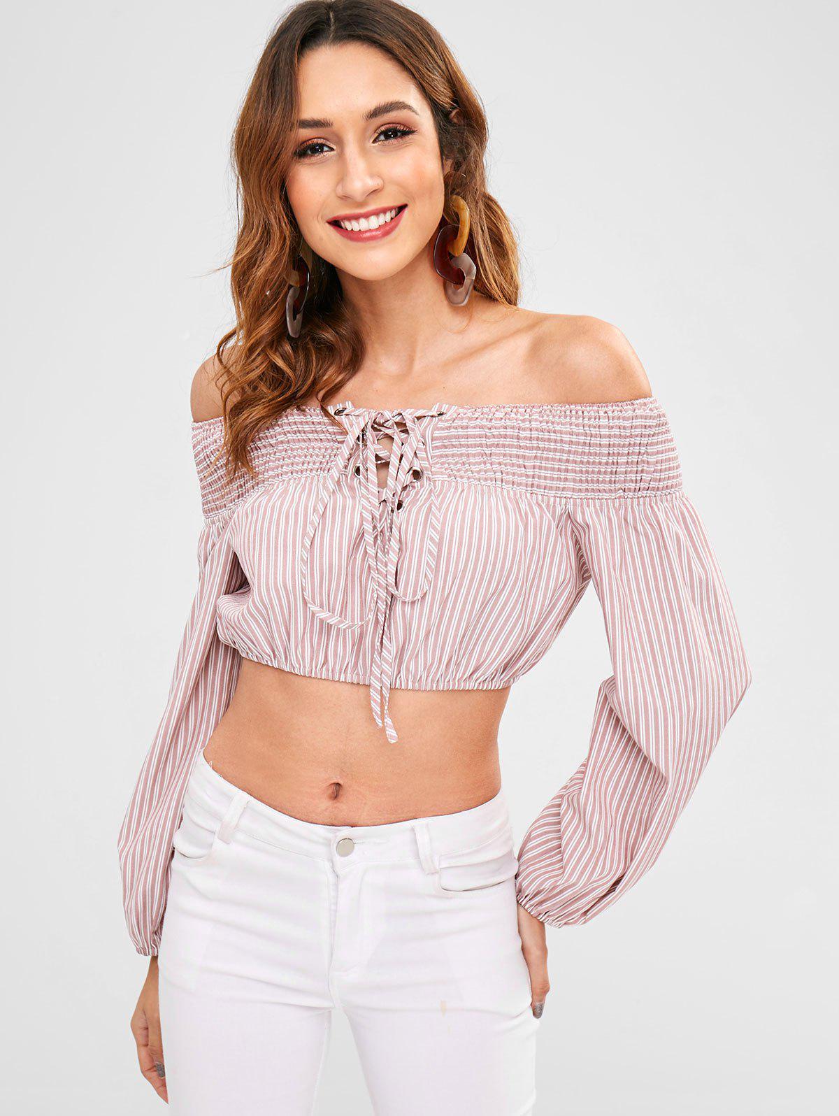 Zaful | PINK ZAFUL Stripe Lace-up Smocked Blouse | Clouty