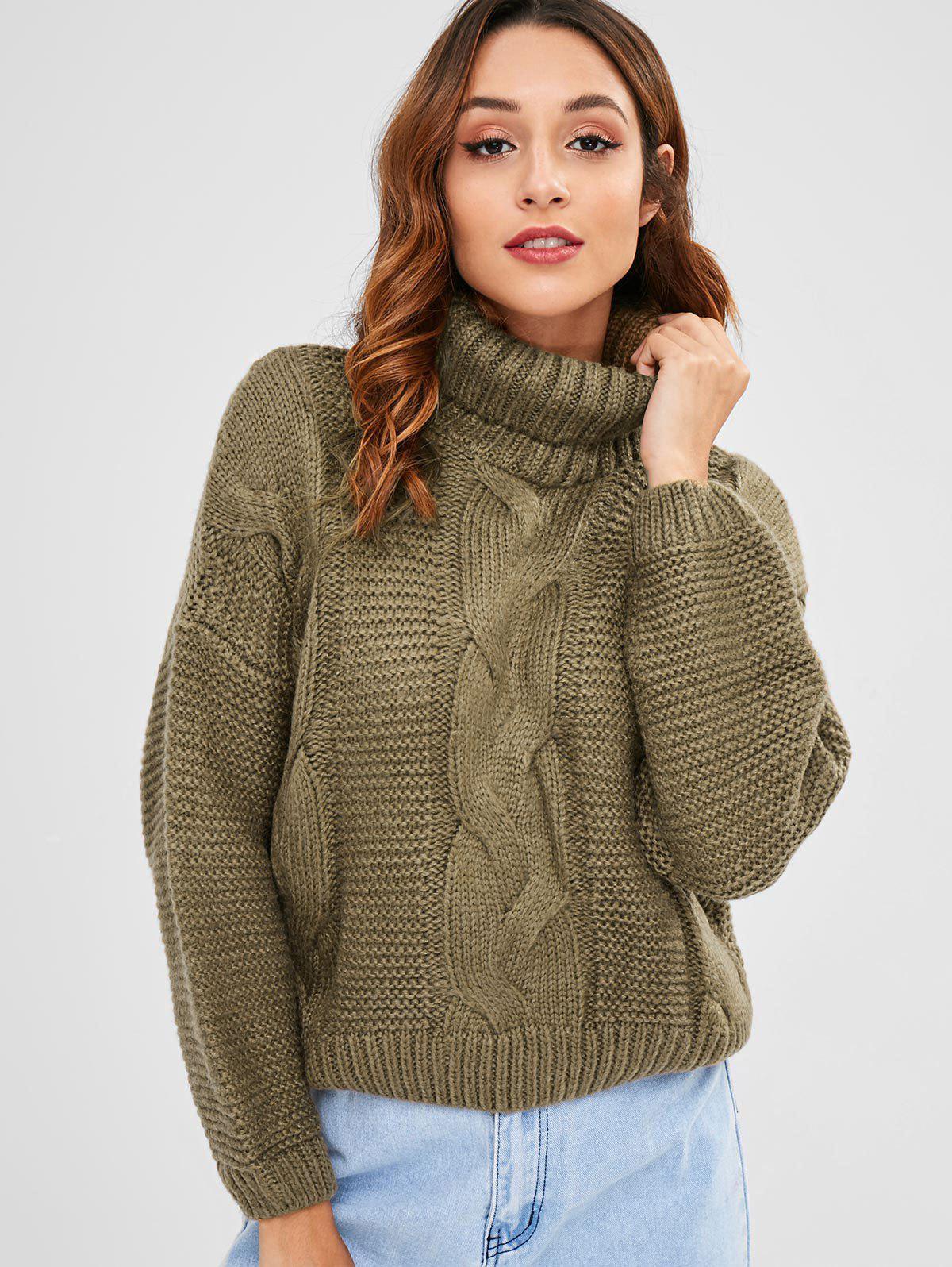 Zaful | KHAKI Cable Knit Turtleneck Chunky Sweater | Clouty