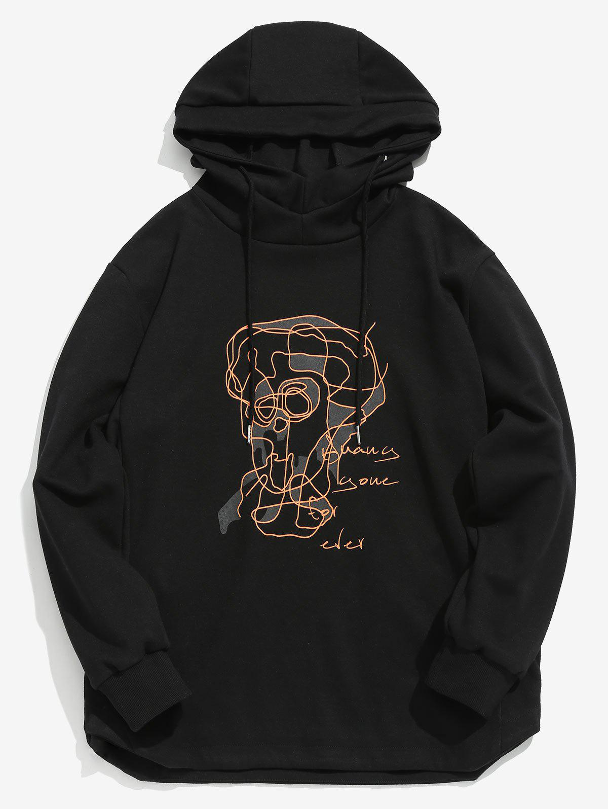 Zaful   BLACK ZAFUL Contour Face Drawing Pullover Hoodie   Clouty