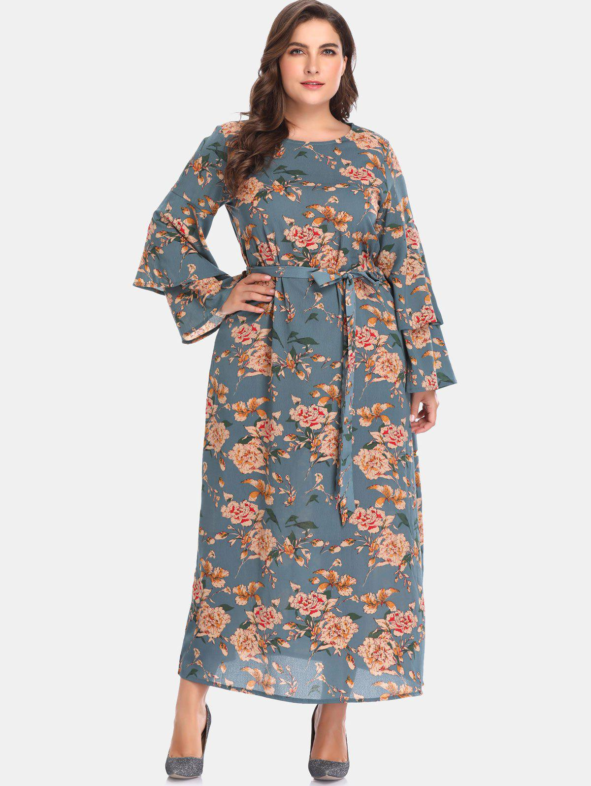 Zaful | PEACOCK BLUE Floral Bell Sleeve Plus Size Maxi Dress | Clouty