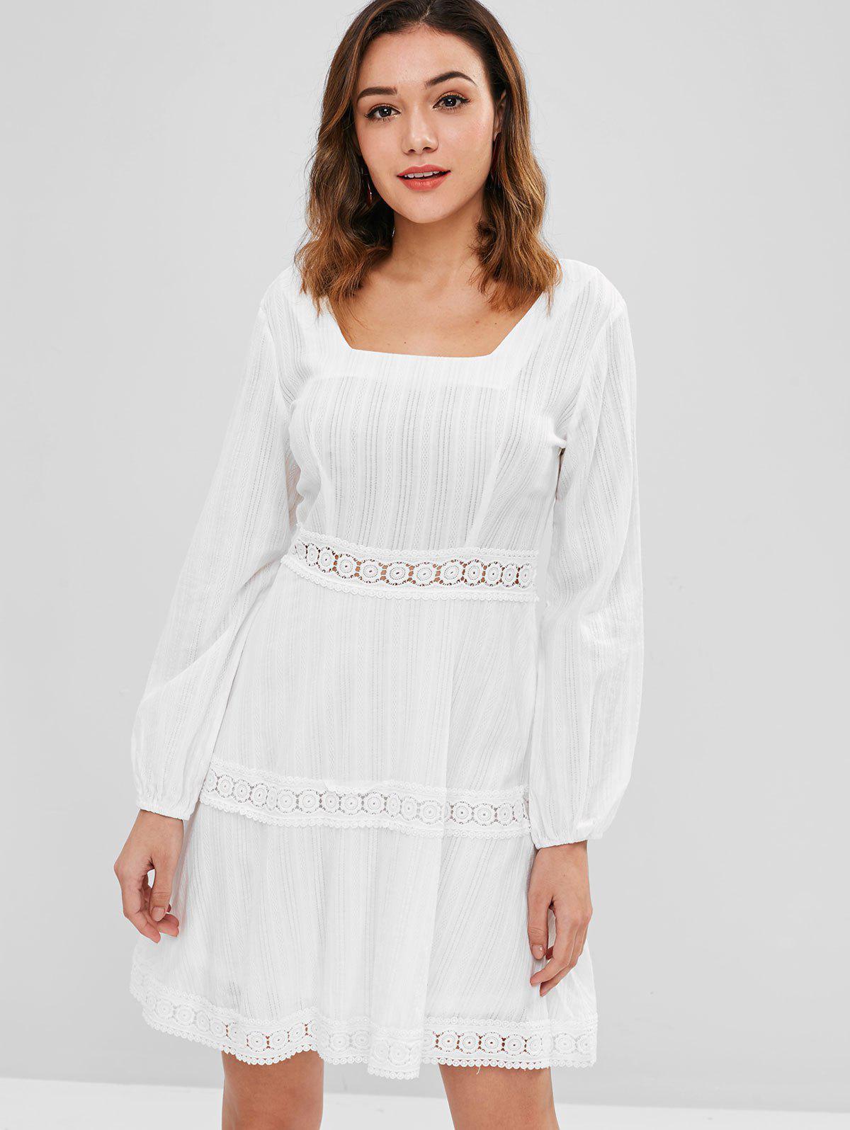 Zaful | MILK WHITE ZAFUL Crochet Panel Mini Flare Dress | Clouty
