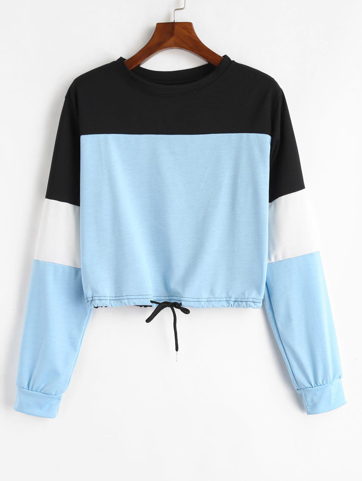Zaful | LIGHT BLUE Drawstring Color Block Pullover Sweatshirt | Clouty