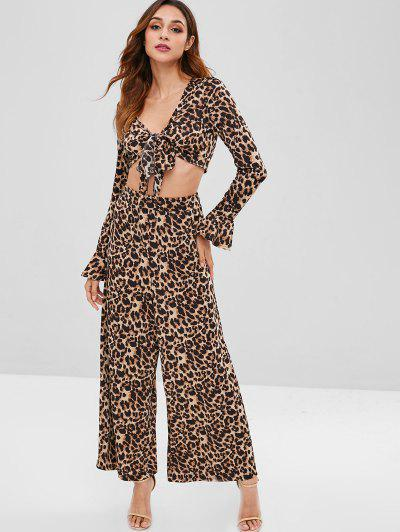 Zaful | ZAFUL Bell Sleeves Leopard Loose Pants Set | Clouty
