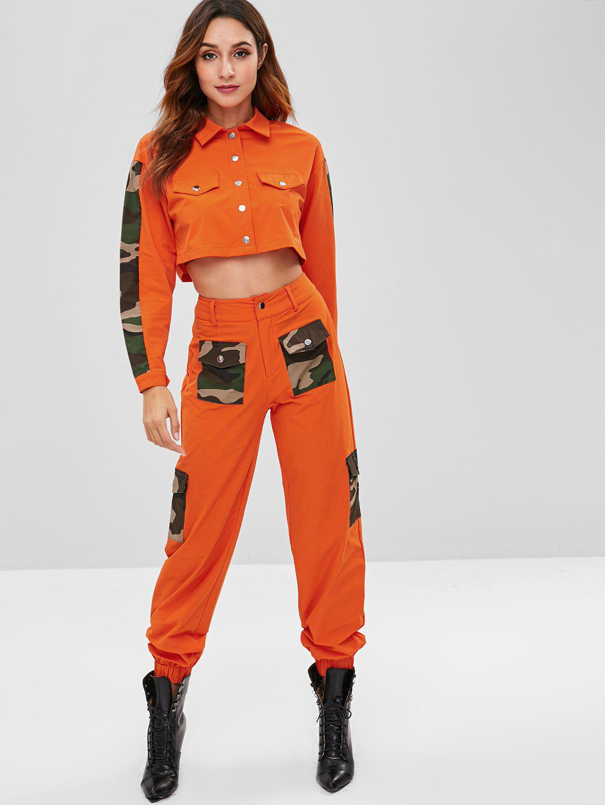 Zaful | HALLOWEEN ORANGE ZAFUL Camo Panel Shirt and Pocket Pants Set | Clouty