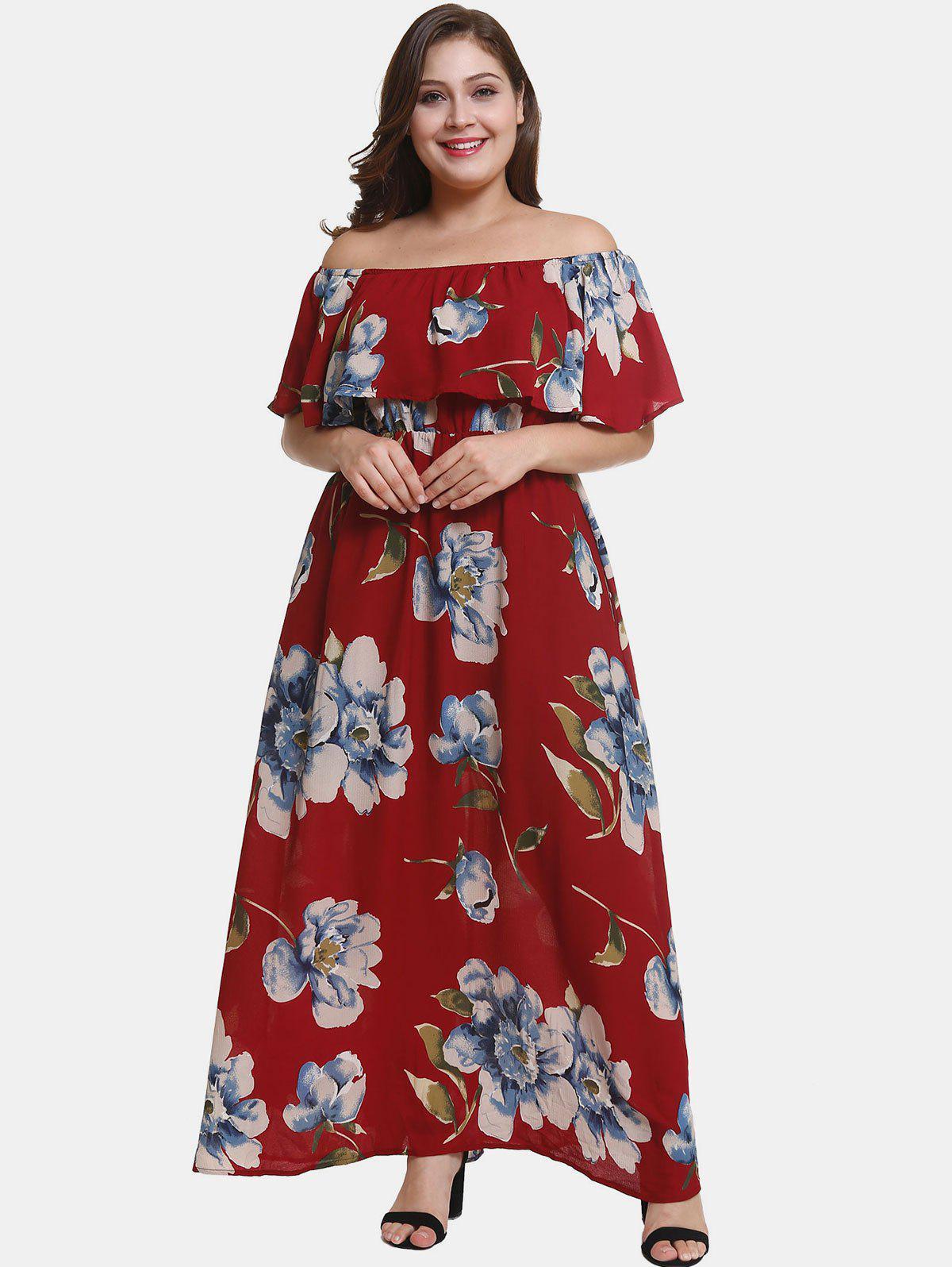 Zaful | RED WINE Off Shoulder Plus Size Flower Print Dress | Clouty