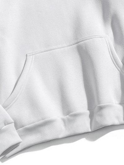 Zaful | WHITE Graphic Pullover Fleece Hoodie | Clouty