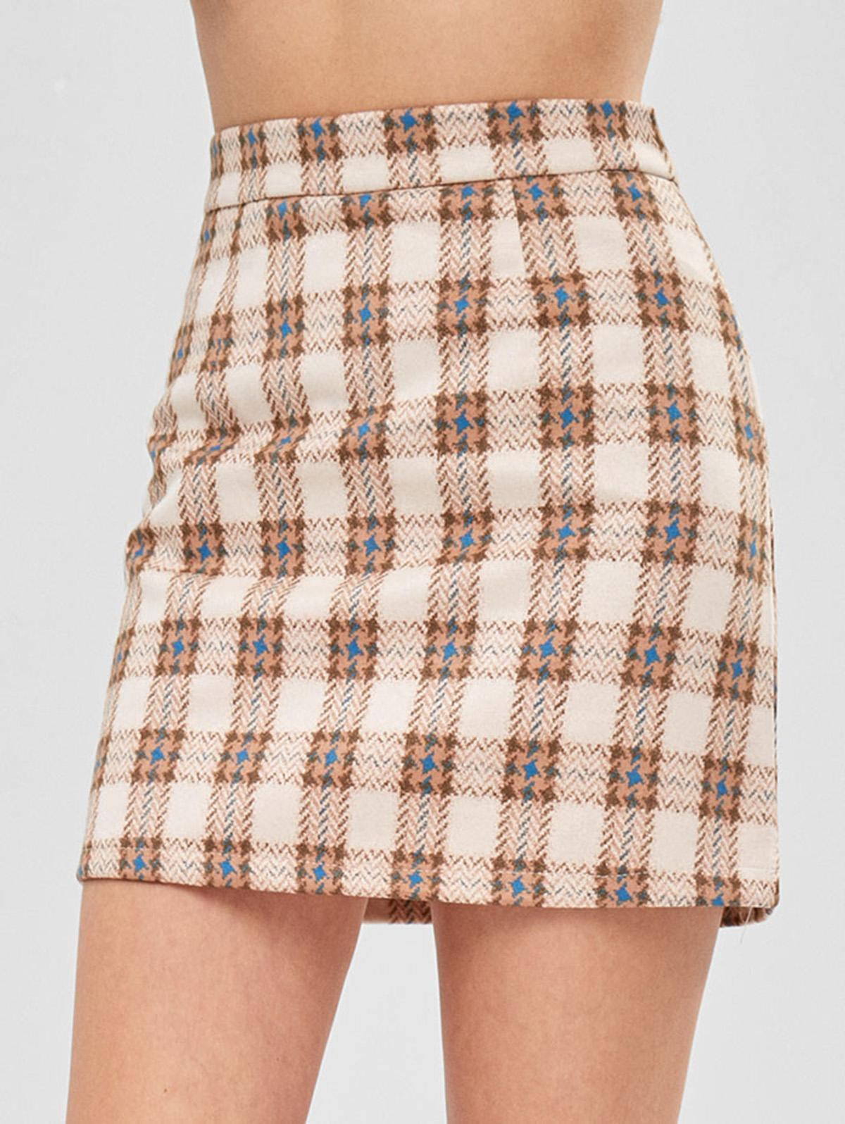 Zaful | MULTI Houndstooth Plaid Skirt | Clouty