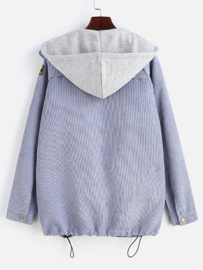 Zaful | SLATE BLUE ZAFUL Fleece Vest and Corduroy Jacket Twinset | Clouty