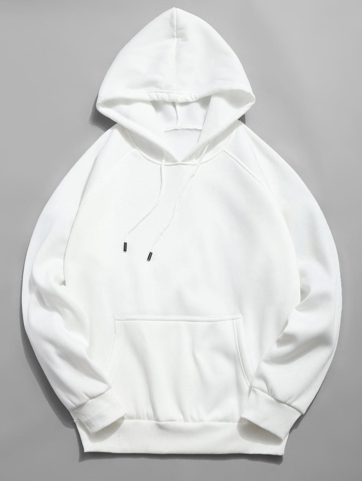 Zaful | WHITE Basic Solid Pouch Pocket Fleece Hoodie | Clouty