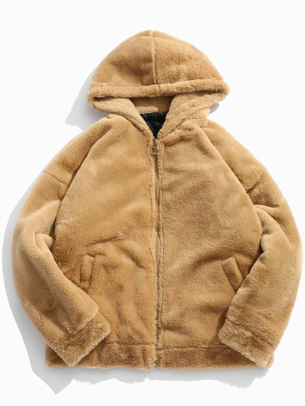 Zaful   DARK KHAKI Solid Soft Faux Fur Quilted Jacket   Clouty