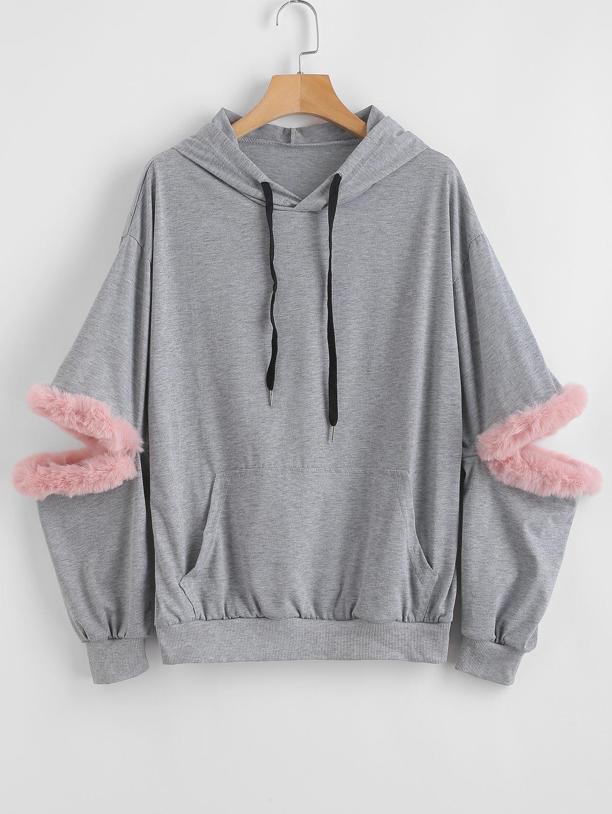 Zaful | GRAY CLOUD Faux Fur Trim Front Pocket Hoodie | Clouty