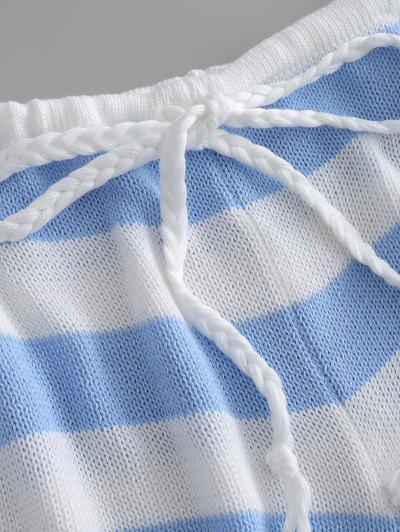 Zaful | LIGHT SKY BLUE Striped Crop Sweater and Shorts Set | Clouty