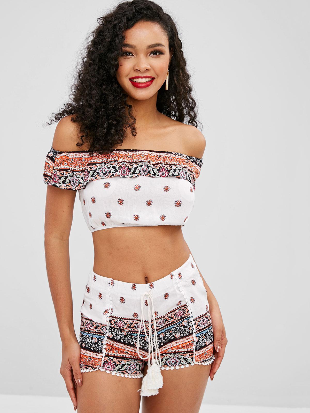 Zaful | WHITE Ethnic Off Shoulder Flounce Shorts Set | Clouty