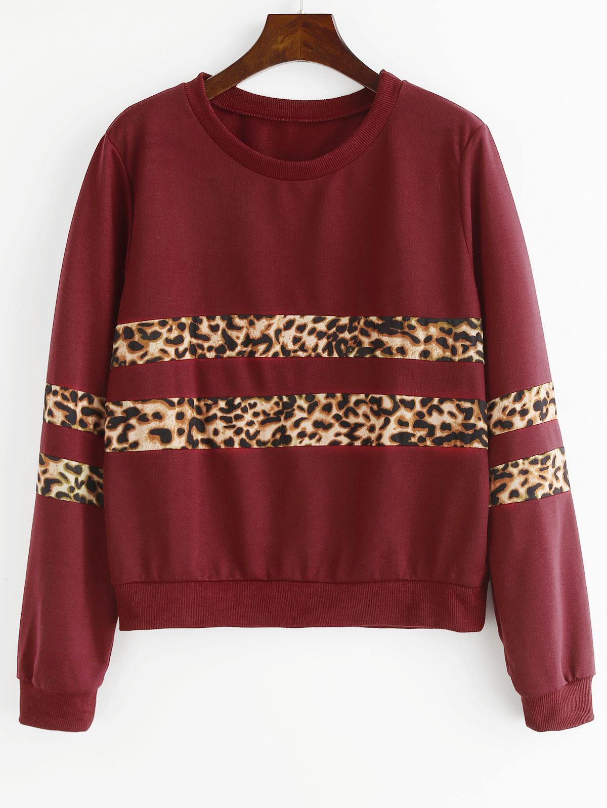 Zaful   RED WINE Leopard Paneled Sweatshirt   Clouty