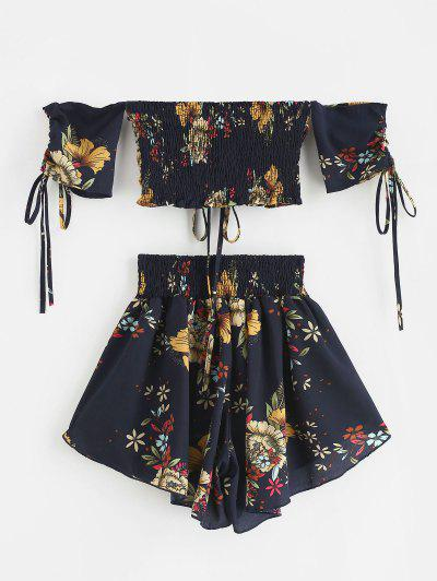 Zaful | MIDNIGHT BLUE Zaful Off Shoulder Cinched Floral Set | Clouty