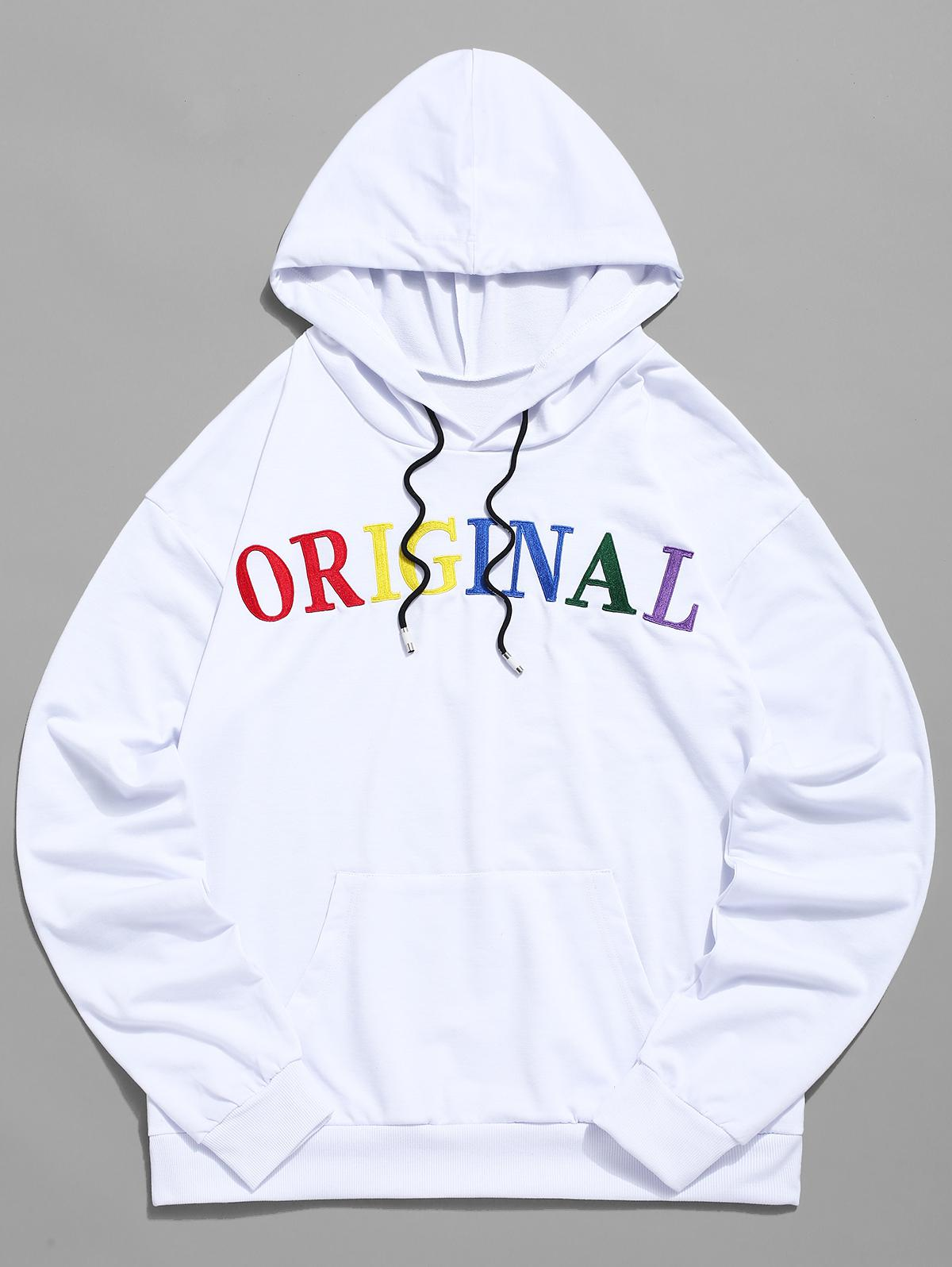 Zaful | WHITE ZAFUL Letter Embroidered Pocket Drawstring Hoodie | Clouty