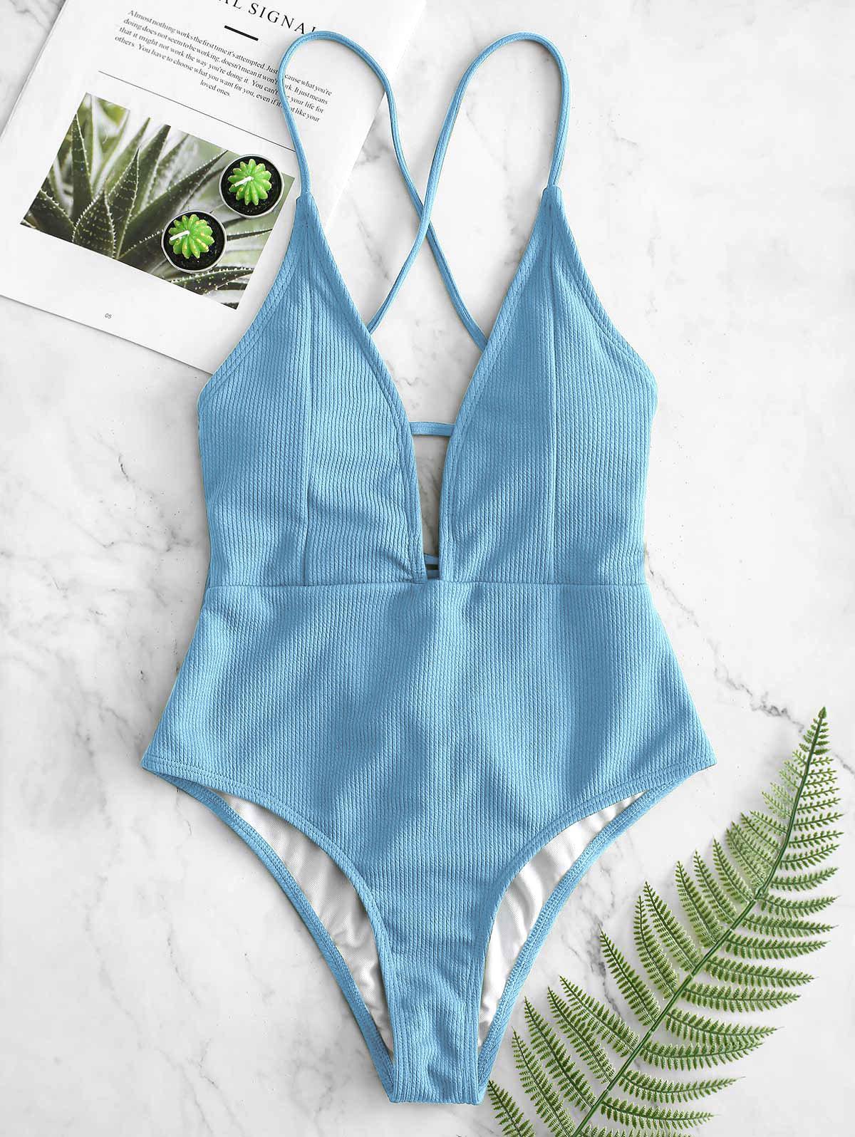 Zaful   LIGHT BLUE ZAFUL Lace-up Crisscross Ribbed Swimsuit   Clouty