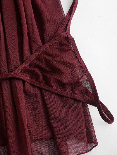 Zaful | RED WINE Satin Bow Lace Panel Mesh Babydoll Set | Clouty