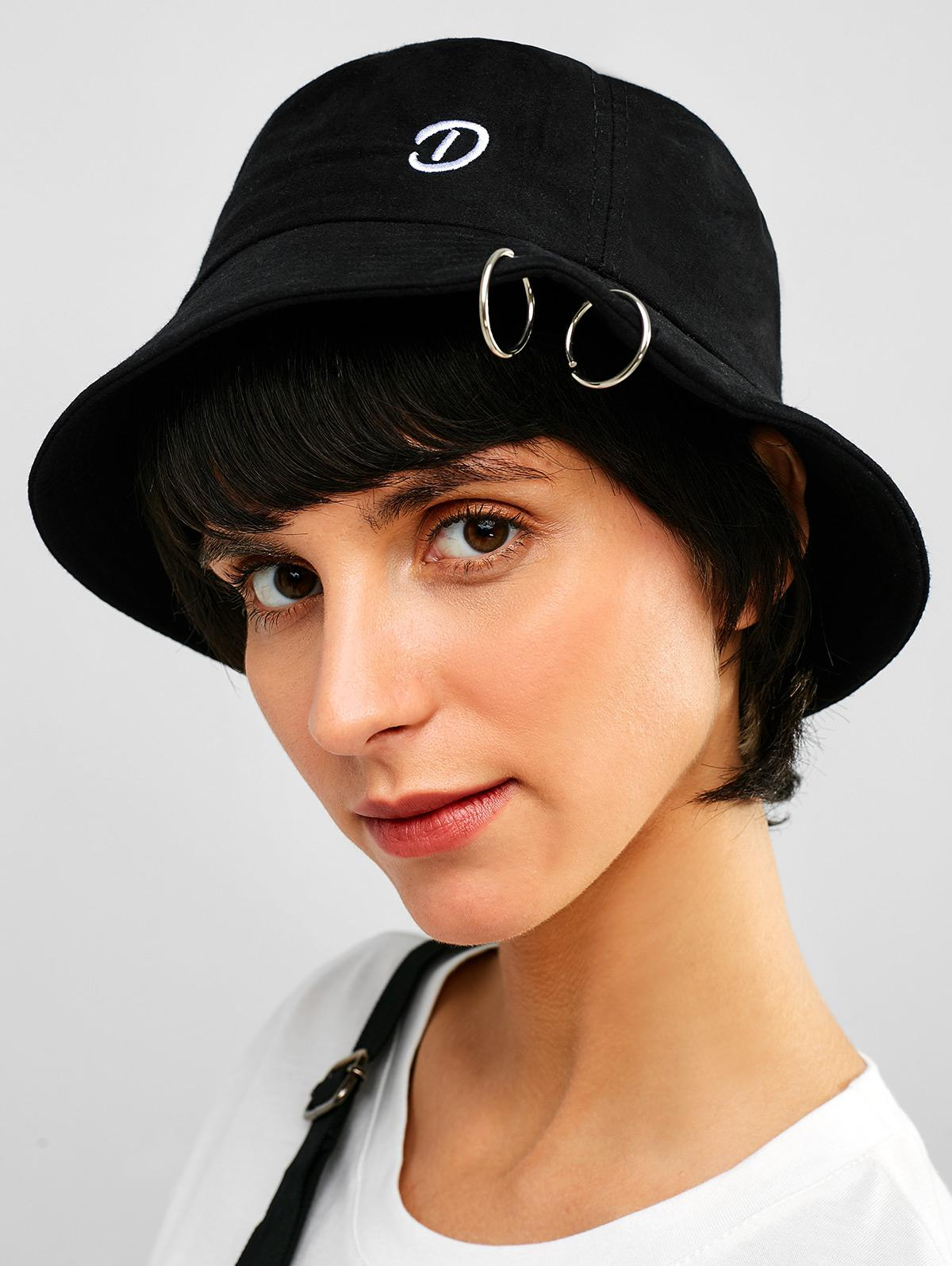 Zaful | BLACK Embroidery Grommet Casual Bucket Hat | Clouty