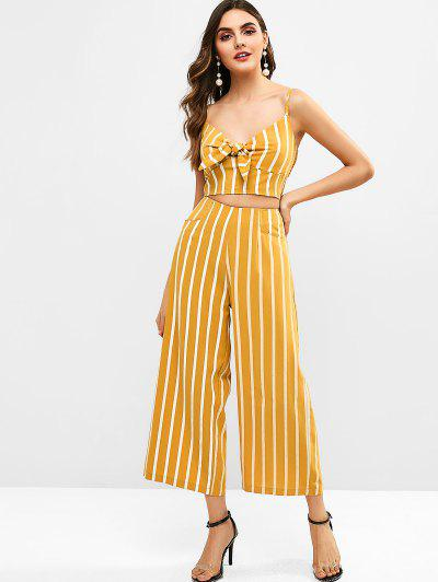 Zaful | BEE YELLOW ZAFUL Smocked Stripes Tie Front Top Set | Clouty