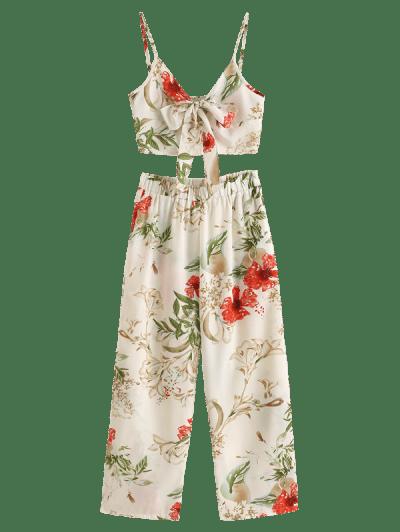Zaful   WHITE ZAFUL Knot Flower Cami Top and Pants Set   Clouty