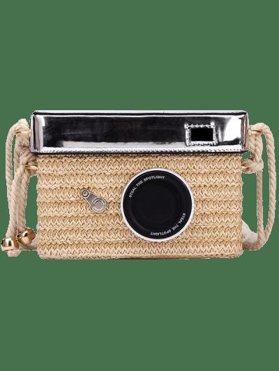 Zaful   KHAKI Personality Straw Camera Crossbody Bag   Clouty