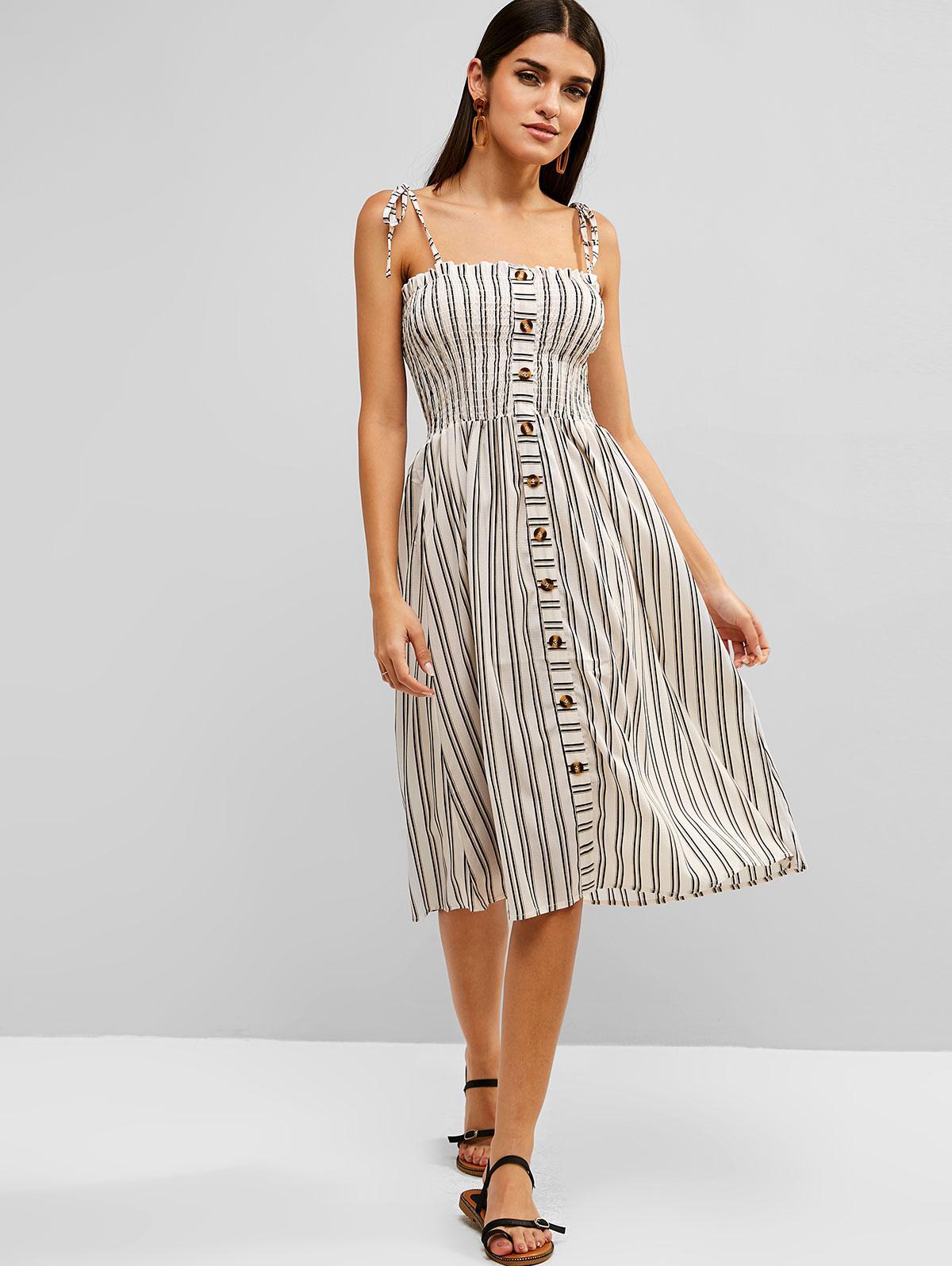 Zaful | MULTI Smocked Stripes Buttoned A Line Dress | Clouty