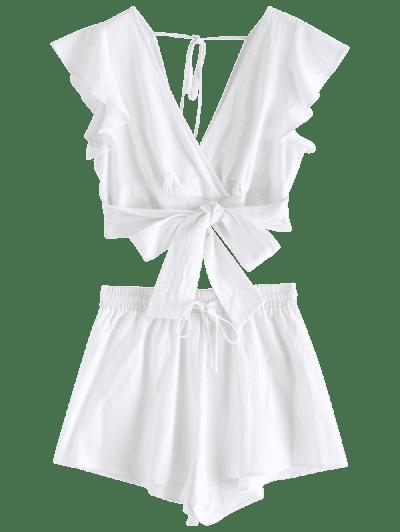 Zaful | WHITE ZAFUL Smocked Plunging Wide Leg Shorts Set | Clouty